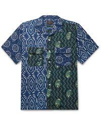 Beams Plus Camp-collar Printed Cotton-poplin Shirt - Blue