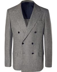 Mp Massimo Piombo - Grey Neruda Slim-fit Double-breasted Houndstooth Virgin Wool Suit Jacket - Lyst