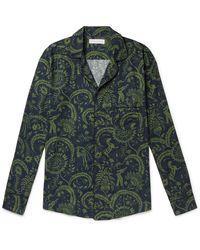 Desmond & Dempsey Zocolo Foliage-print Cotton Pyjama Top - Green