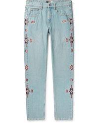Isabel Marant Jasper Slim-fit Embroidered Denim Jeans - Blue