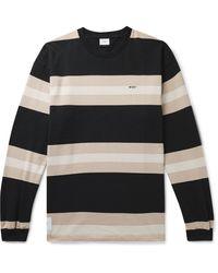 WTAPS Vatos Logo-embroidered Striped Cotton-jersey T-shirt - Black