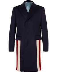 Gucci - Stripe-trimmed Cashmere And Wool-blend Coat - Lyst