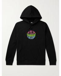 Stussy Printed Cotton-blend Jersey Hoodie - Black