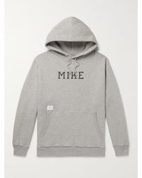 WTAPS Academy Printed Mélange Fleece-back Cotton-jersey Hoodie - Grey