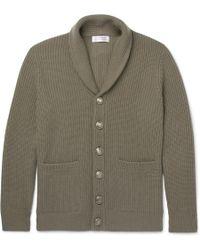 Brunello Cucinelli - Shawl-collar Ribbed Wool, Cashmere And Silk-blend Cardigan - Lyst