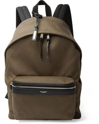 Saint Laurent City Leather-trimmed Canvas Backpack - Green
