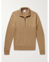 Burberry Logo-embroidered Cashmere Half-zip Jumper - Brown