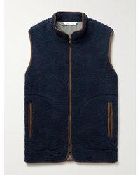 Peter Millar Faux Suede-trimmed Fleece Gilet - Blue