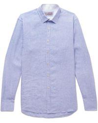 Canali - Mélange Linen Shirt - Lyst