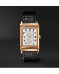 Jaeger-lecoultre Reverso Classic Large Duoface Small Seconds Hand-wound 28.3mm 18-karat Rose Gold And Alligator Watch - Black