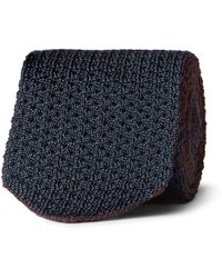 Brioni - Reversible Knitted Silk And Linen-blend Tie - Lyst