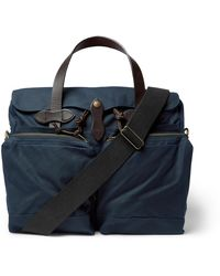 Filson 24-hour Leather-trimmed Coated-canvas Briefcase - Blue