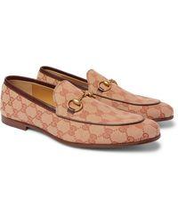 Gucci Jordaan Horsebit Leather-trimmed Monogrammed Canvas Loafers - Brown