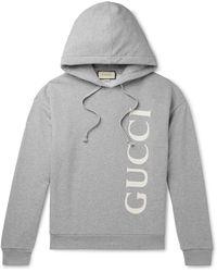 Gucci Logo-print Cotton-jersey Drawstring Hoody - Grey