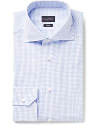 Ermenegildo Zegna - Light-blue Trofeo Slim-fit Cutaway-collar Checked Cotton-poplin Shirt - Lyst