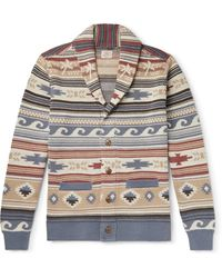 Faherty Shawl-collar Fair Isle Intarsia Linen And Cotton-blend Cardigan - Grey
