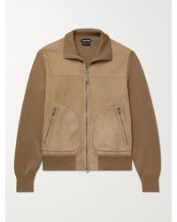 Tom Ford Panelled Suede And Merino Wool Blouson Jacket - Multicolour