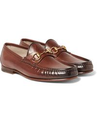 Gucci Roos Horsebit Burnished-leather Loafers - Brown