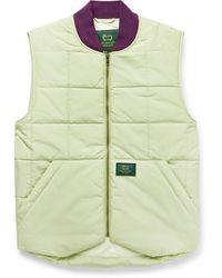 Aimé Leon Dore Woolrich Logo-appliquéd Quilted Padded Cotton-blend Gilet - Green