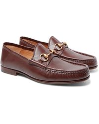 Gucci Easy Roos Horsebit Collapsible-heel Leather Loafers - Brown