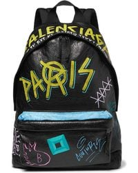 Balenciaga - Arena Graffiti-printed Creased-leather Backpack - Lyst