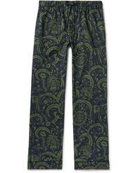 Desmond & Dempsey Printed Cotton Pyjama Pants - Green