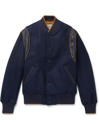 Golden Bear - The Hayes Leather-trimmed Wool-blend Bomber Jacket - Lyst