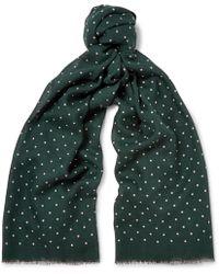 J.Crew | Polka-dot Wool And Silk-blend Scarf | Lyst