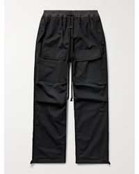 Fear Of God Leather-trimmed Cotton Drawstring Cargo Trousers - Black