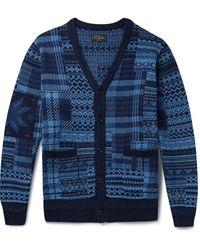 Beams Plus Cotton-jacquard Cardigan - Blue