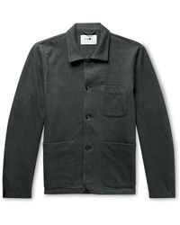 NN07 Ben Herringbone Fleece-back Cotton-blend Jersey Jacket - Multicolour