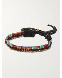 Peyote Bird Leather-trimmed Beaded Bracelet - Black