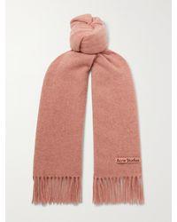 Acne Studios Canada Skinny Fringed Mélange Wool Scarf - Pink
