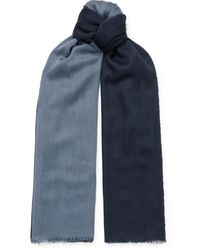 Loro Piana Fringed Colour-block Cashmere And Silk-blend Scarf - Blue