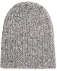 Inis Meáin - Ribbed Mélange Merino Wool And Cashmere-blend Beanie - Lyst