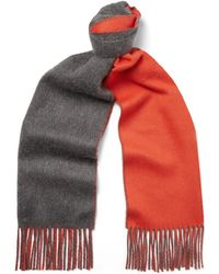Johnstons Reversible Fringed Cashmere Scarf - Gray