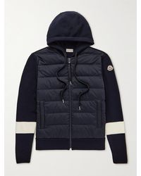 Moncler Logo-appliquéd Striped Wool And Quilted Shell Down Hooded Zip-up Cardigan - Blue