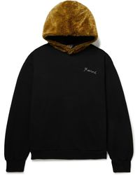 Marni Faux Fur-trimmed Logo-embroidered Cotton-jersey Hoodie - Black