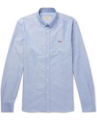 Maison Kitsuné - Button-down Collar Logo-embroidered Cotton Oxford Shirt - Lyst