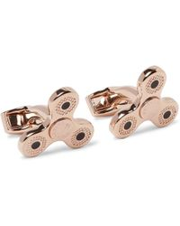 Tateossian - Triptych Enamelled Rose Gold-plated Cufflinks - Lyst