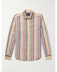 Drake's Slim-fit Striped Linen Shirt - Multicolour
