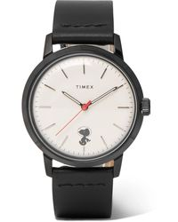 Timex + Peanuts Marlin Stainless Steel And Leather Watch - White
