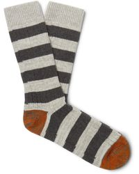 Thunders Love Nautical Turn Striped Recycled Cotton-blend Socks - Gray