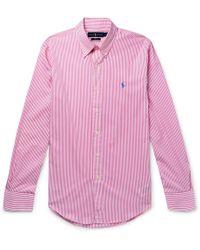 0040409448 Polo Ralph Lauren - Slim-fit Button-down Collar Striped Cotton-poplin Shirt