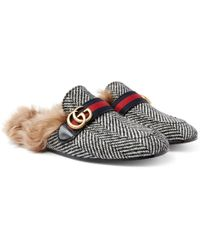 Gucci - Princetown Shearling-lined Herringbone Wool Backless Loafers - Lyst
