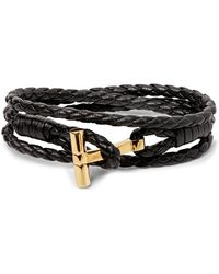 Tom Ford Woven Leather And Gold-tone Wrap Bracelet - Black