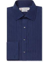 Turnbull & Asser - Cream Bib-front Double-cuff Silk Shirt - Lyst
