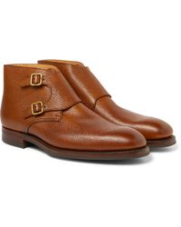 George Cleverley - Pebble-grain Leather Monk-strap Boots - Lyst