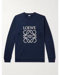 Loewe Logo-embroidered Loopback Cotton-jersey Sweatshirt - Blue