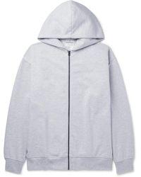 Acne Studios Forban Mélange Fleece-back Cotton-blend Jersey Zip-up Hoodie - Grey